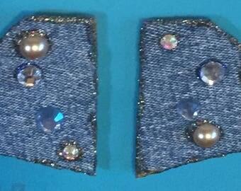 Faded denim with glitz, pierced earrings # P13