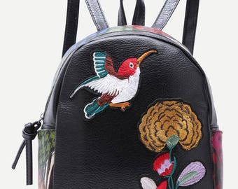 Black Sparrow and Chrysanthemum Embroidered Backpack