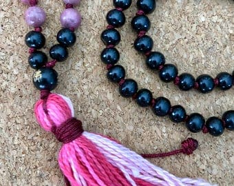 Sandalwood Rhodonite Mala Necklace, 108 Mala Beads, Rhodonite Mala Necklace, Sandalwood Mala Necklace, Hand Knotted Mala