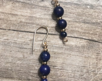 Blue Lapis lazuli and 14k gold filled beaded earrings