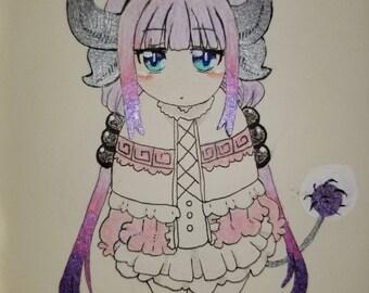 Kanna Kamui Kobayashi-san Chi No Maid Dragon Anime Glitter Gel Pen Art