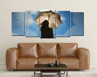 Rain Canvas, Umbrella, Rain Puddle, Reflection, Shadow Sun Clouds, Photo, Print Large 5 Panel Set Wall Decor Blue