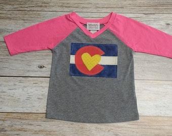 Baby Girl Colorado Flag Baseball Tee - Pink Baby Baseball Tee