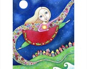 Blonde Girls Large Wall Art Print Grasshopper Totem Painting Gymnastic Poster Leaping Flying Girls Room Print Gift for Friend Leap of Faith