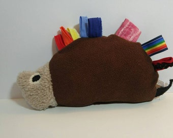 Prickly hedgehog tag toy
