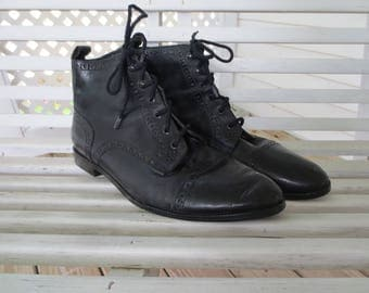 Hunt Club Black Leather Lace Up Ankle Boots - Size 8.5 - Made in Brazil