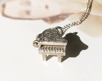 Vintage piano charm necklace   1950's silver music grand piano charm   retro moveable charm   gift for music lover   gift for pianist