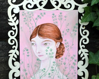 "Original acyrlic and watercolour on wood, ""Botanical in Pink"" marmeecraft illustration/painting"