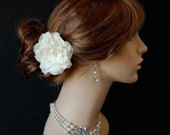 Wedding Hair Flower, Retro Hair Flower, Cottage Chic Hair Piece, Bridal Hair Flower - Glistening Beauty