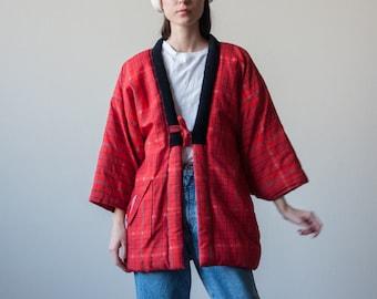 red quilted japanese kimono-style jacket / plaid japanese robe jacket / cotton oversized cardigan / s / m / 2375o / B20