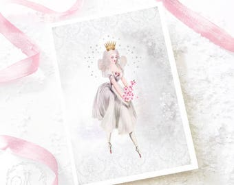 Fairy card, Christmas card, magic, sugar plum fairy, holiday card, birthday card, blank inside