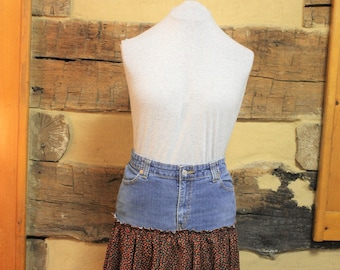 Upcycled Denim Skirt Boho Chic Hippie Clothes Free People Style Womens Fashion
