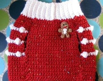 Size M - Dog Sweater Vest - Ginger Snap Christmas - Red Tweed - Ready to Ship Today