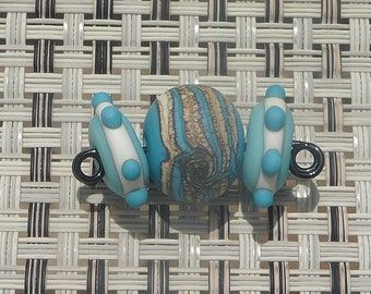 Handmade Lampwork Glass Bead Set Trio Turquoise Ivory Southwestern Artisan Lamp Work bead Handcrafted bead Generationslampwork SRA