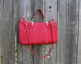 Purse /  Handbag / Shoulder Bag / Stylish / Handmade / Red Denim / leather shoulder and hand straps / Contemporary multi colred mod interior
