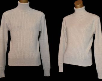 Vintage Two Ply Cashmere Sweater, 1990s Taupe Cable Knit Turtleneck Pullover, Made in Hong Kong for Lord & Taylor, Size XS to S