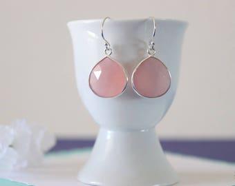 Pink Gemstone Silver Earrings or Gold, Chalcedony, Blush Pink Earrings, Small, Tear Drop Gemstone, Heart Shape
