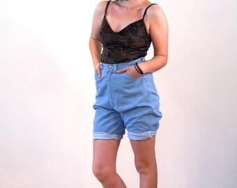 Vintage Wrangler Jean Shorts M, 60s Denim Shorts, Vintage Denim Shorts, Wrangler Blue Bell Shorts, High Waisted Denim Shorts, 30 Inch Waist