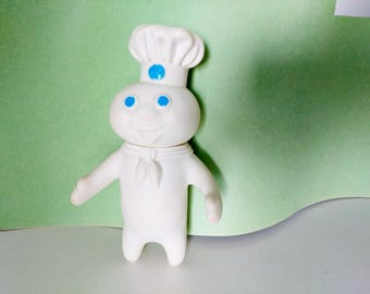 Vintage Pillsbury Doughboy 1971 Figurine Doll Poppin Fresh Toy 7 inches tall advertising squeazable vinyl baking doll