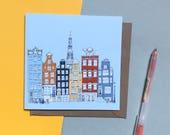 Amsterdam Greetings Card - Amsterdam Skyline - Eco Card - Amsterdam Landmarks Card - Amsterdam Print - Amsterdam Townhouses