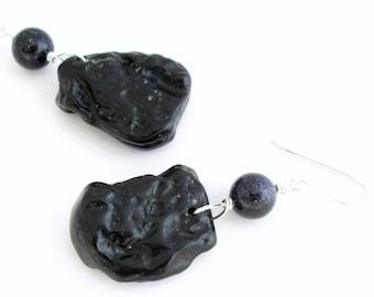 Milky Way Galaxy Earrings, Blue Goldstone & Black Tektite Jewelry, Shooting Star Earrings