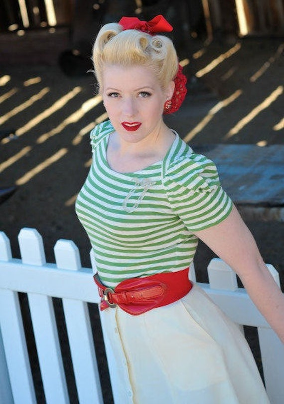 1930s Style Tops, Blouses & Sweaters 1930s style Sailor stripe boatneck ecofriendly knit top XS to XL green navy or pink $50.00 AT vintagedancer.com
