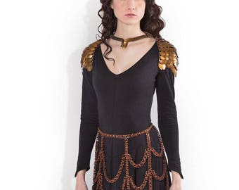 Lagertha-Bronze Viking Steampunk Chainmaille Chainmail Bustle Drape Skirt for SCA Burning Man LARP