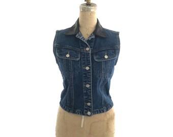 80s denim vest | denim vest with faux leather collar | vintage denim vest