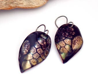 Leaf Earrings, Inky Bluish Black and Gold Dangles, Copper Enamel, Vitreous Enamel Leaf Jewelry, OOAK Original Gift for Her, Ready to Mail