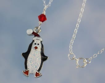 Sparkly Penguin in a Santa Hat necklace - adorable enameled charm on sterling silver chain -Winter & Christmas Fun -Free Shipping USA