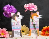 Corgi flower holder cute printable dog shaped card that hugs a single flower for Mother's Day Corgeous daisy carnation cute gift from kids