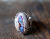 Dollybird Raw Rainbow Fire Opal Ring