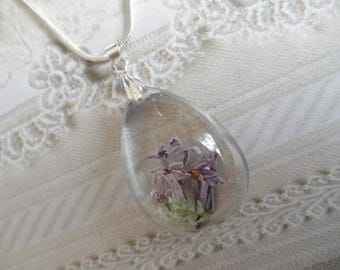 Magical Fairytale Garden-Lavender Thumbelina Lilac Blooms Encased In Glass Teardrop Pendant-Nature's Art-8th Anniversary-Gifts Under 32