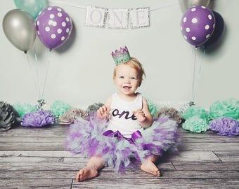 Pretty Birthday Tutu Dress | 1st Birthday Outfits | Mint and Purple Birthday Tutu | Baby Girl Cake Smash Tutu | Tutu Skirt | Birthday Tutu
