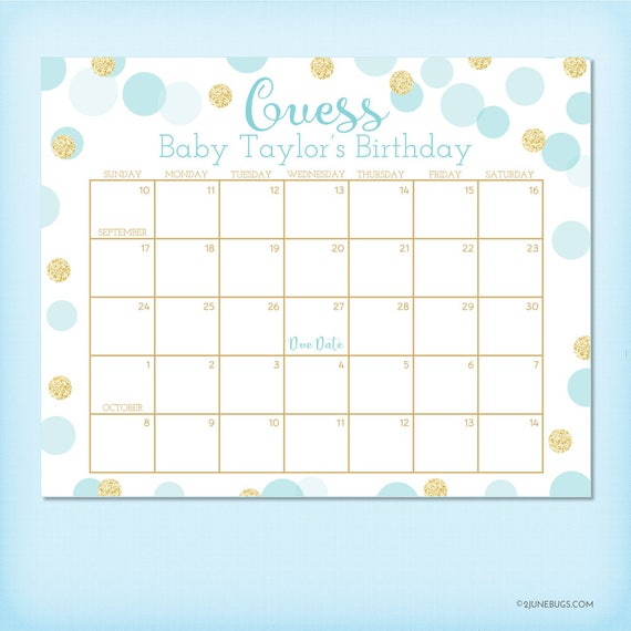 Guess The Birth Date Baby Shower Game: Blue And Gold Baby Shower Birthday Predictions, Baby