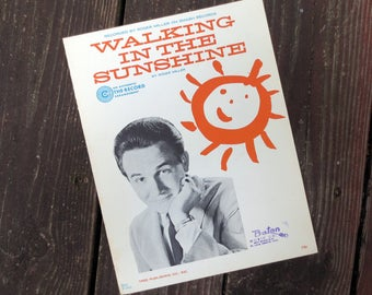 1967 Walking in the Sunshine Vintage Sheet Music, by Roger Miller Recorded on Smash Records