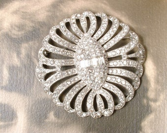 Vintage Art Deco Rhinestone Brooch/Hair Comb, BOOK PIECE Fine Antique 1920 Wedding Dress Sash Buckle, Bridal HeadPiece Pave Paste Hairpiece