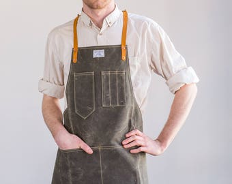 Wax Canvas Apron - Olive w/ Horween Saddle Tan Leather Straps