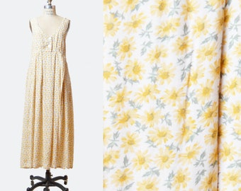 Vintage 90s White Floral Dress Grunge Long / 1990s Maxi Sunflower Flower Print Boho Deep V Neck Yellow Green Sleeveless Empire Waist Small