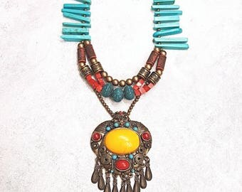 Huge Bright Ethnic Bohemian Brass Pendant Statement Necklace Red, Turquoise, Amber