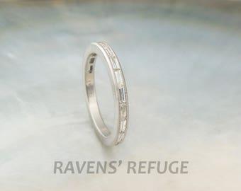 channel set baguette diamond band -- diamond platinum wedding band / engagement ring