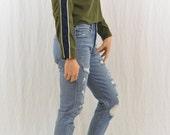 Vintage Striped Crop Top, Size XS, OOAK, Tumblr Clothing, 90's, Y2K, Sporty Stripes