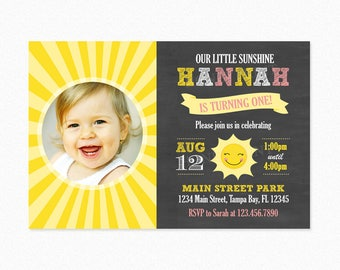 Sunshine Birthday Party Invitation, Little Sunshine Birthday Party Invitation, Yellow, Pink, Personalized, Printable or Printed