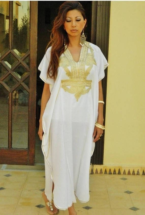 Autumn Dress 25% OFF SALE / Kaftan Moroccan Resort Caftan Kaftan Marrakech-White with Gold Embroidery, beach cover ups, resort ,w