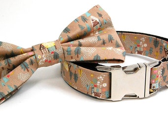 Handmade Dog Collar and Bow Tie Set - Cottage in Tan - Custom Made Cabin Dog Collar with matching bowtie