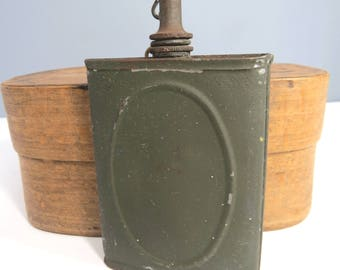 Vintage Pocket Army Oil Can, WWII Gun Oiler, Flask Shape, Army Green, Gift for Him, Father's Day