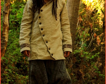 Men jacket with hoodie ~ tribal embroidery pattern ~ made of Linen & Handwoven Wool