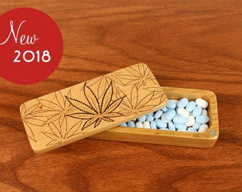 """Storage Box Weed Leaves Pattern, 5"""" x 2"""" x 1"""", Solid Cherry, Rare Earth Magnets, Small Money Box, Paul Szewc, Masterpiece Laser"""