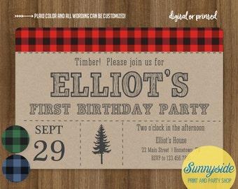 Lumberjack Birthday Party Invite - Logger Plaid Boys Printable Invitation