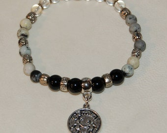 Gemini Zodiac Sign Gemstone Charm Bracelet Citrine Dendretic Agate Onyx Bracelet Stackable Zodiac Jewelry Calming Meditation Bracelet Her